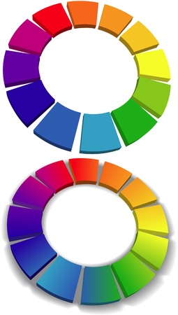 Set of two color wheels choose simple and gradient with shadow