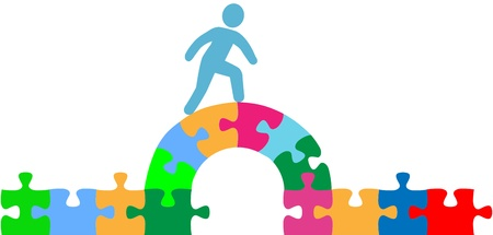 strive: Person walking over jigsaw puzzle bridge to a problem solution Illustration