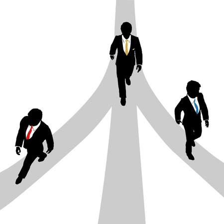 Three business men walk forward on 3 paths to the future