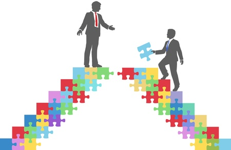 missing piece: Two people find connection to team up on puzzle in a merger make a deal or collaborate Illustration