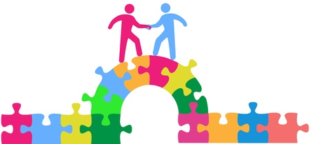 Two people team up climbing bridge to join in a merger make a deal or collaborate Vectores