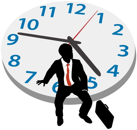 인내: 비즈니스 사람 (남자) 늦게 약속 기다리거나 휴식을 취하기 시계에 앉아