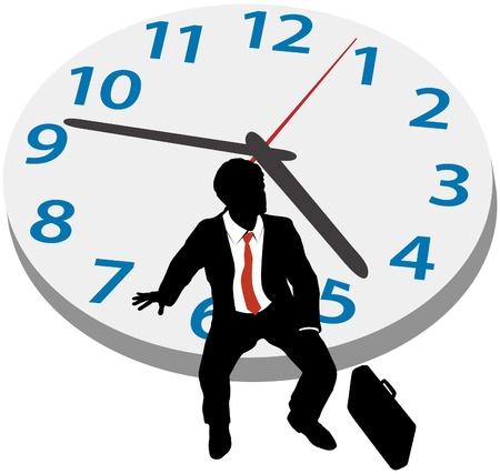 paciencia: Hombre de negocios que se sienta en el reloj de espera para una cita, o si toma descanso