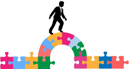 Business man crossing a bridge to find solution to a puzzling problem Ilustração