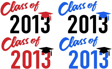 Class of 2013 graduation celebration announcement caps in red and blue school colors Ilustrace