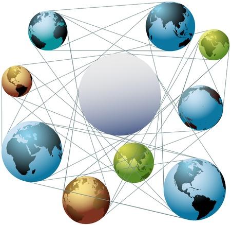 alianza: Ponga su logotipo o copia en el espacio en el centro de una red global de mundos