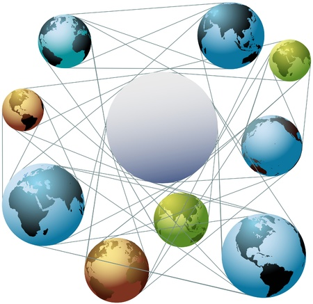 Put your logo or copy in the space at the center of a global network of worlds Stock Vector - 15291629