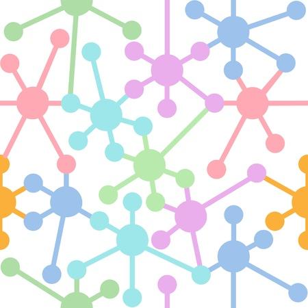 N?uds du réseau colorées se connecter à un système seamless pattern Banque d'images - 15291628