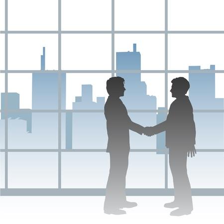 두 개의 큰 도시의 비즈니스 사람들이 악수와 협력의 거래 인감