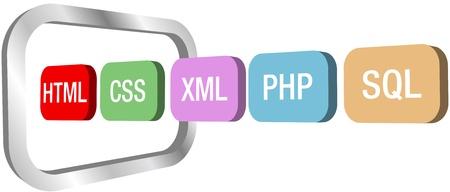 HTML CSS PHP 및 기타 웹 개발 요소 아이콘의 행은 컴퓨터 모니터의 상징으로 이동 스톡 콘텐츠 - 15386897