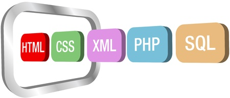 web development: Row of HTML CSS PHP and other web development element icons move into a symbol of a computer monitor Illustration