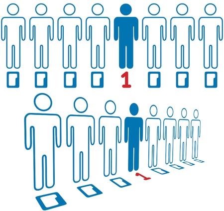 Informatie leeftijd held niet een nul in de lijn van digitale mensen Stock Illustratie