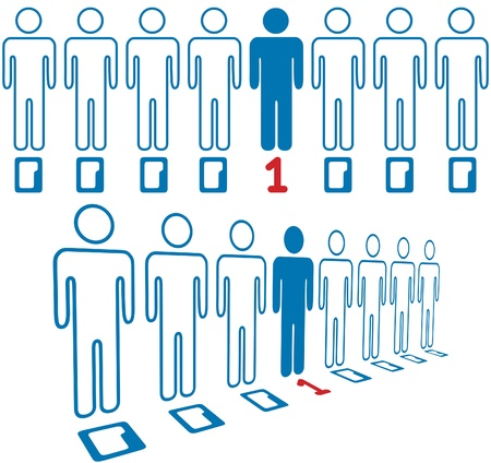 number of people: Information age hero not a zero in line of digital people
