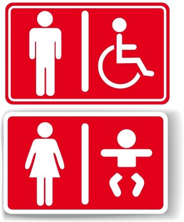 bimbo pannolino: Segni di toilette uomini pannolini per bambini donne cambiando accesso per disabili