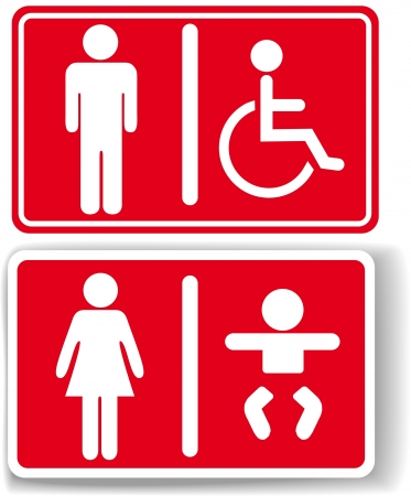 Signs for restroom men women baby diaper changing handicapped access