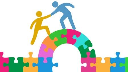 Persona ayuda a la gente unirse y resolver rompecabezas puente Ilustración de vector