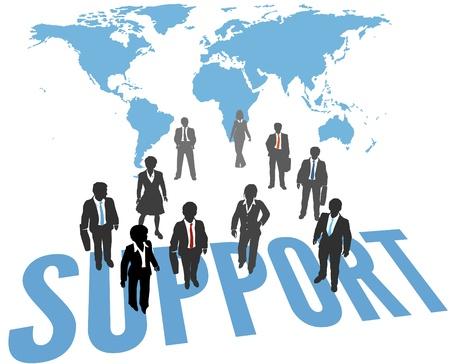 비즈니스 사람들이 전 세계적으로 글로벌 기업 지원 서비스를 제공