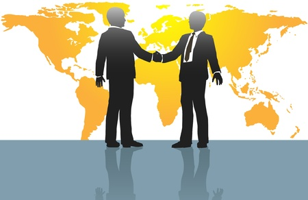 treaty: Business people handshake on global deal in front of world map