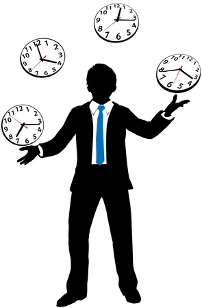 Busy business man juggles work day hours and appointments Stock Vector - 15705961