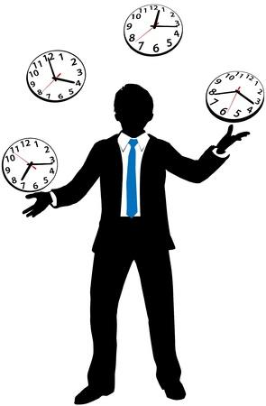 Hombre de negocios ocupado malabares horas de trabajo diarias y citas