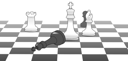 advantages: White chess king defeat black in strategy game win