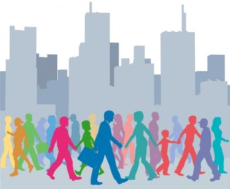Crowd of city people go walking in front of buildings skyline