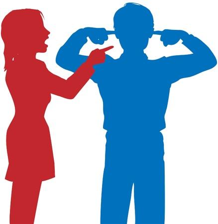pareja discutiendo: Pareja argumentar mujer pelea punto hombre dedo cubre los oídos para no escuchar