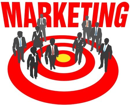 targeted: Corporate business people aim at targeted marketing goal Illustration