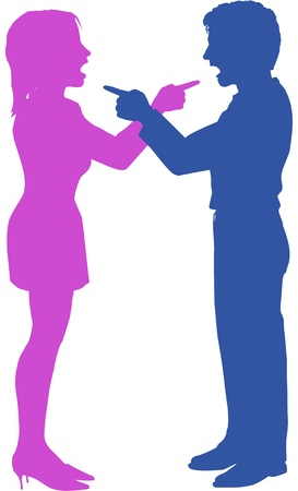 Couple yell point fight at each other in argument Ilustrace