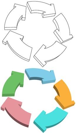 five objects: Frecce Curvy ciclo di riciclare in colori 3D e disegni