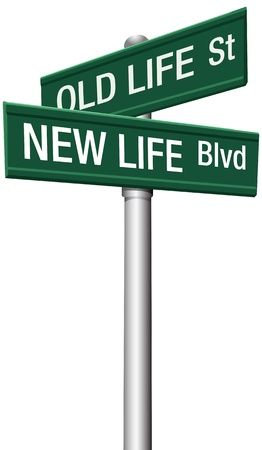 life change: Change directions with old life street and new life boulevard signs Illustration