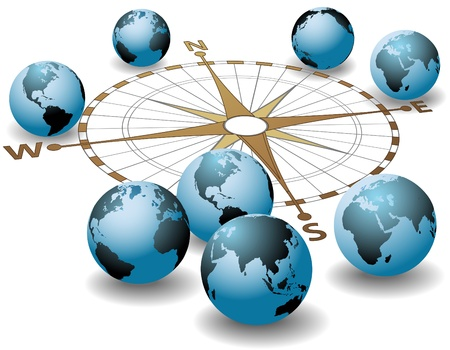 Worldwide compass points at worlds earth global directions Stock Vector - 16229694