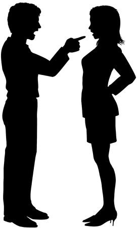 Man schreeuwen wijzend op vrouw in paar strijd argument