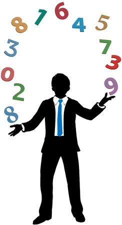rekensommen: Business man accountant jongleren financiële rekenwerk gegevens