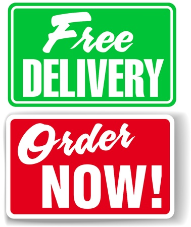 Free Delivery Order Now business retail window style signs set Banco de Imagens - 16452699