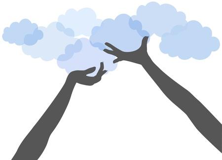 People hands support or offer SAAS or other services on cloud computing platform Illustration