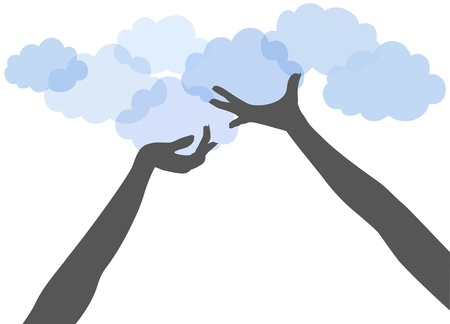 cloud computing services: People hands support or offer SAAS or other services on cloud computing platform Illustration