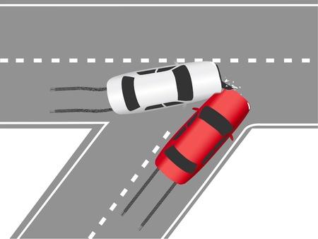 Accidente de auto seguro bloquea dos coches en la carretera naufragio Ilustración de vector