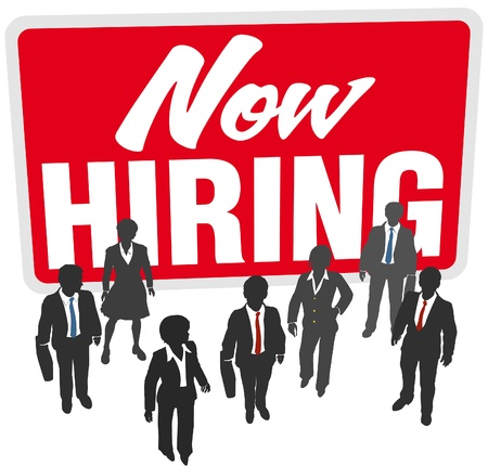 Now Hiring sign recruit people to join business work team Vector