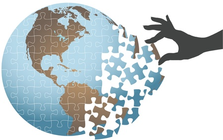 Woman hand puts puzzle together to find global solution