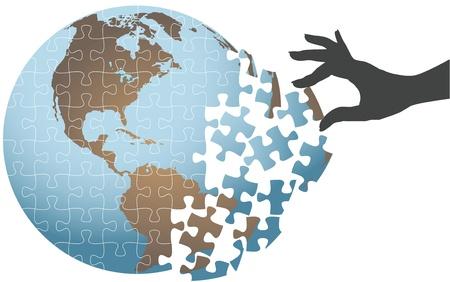 Vrouw hand zet puzzel in elkaar te vinden globale oplossing