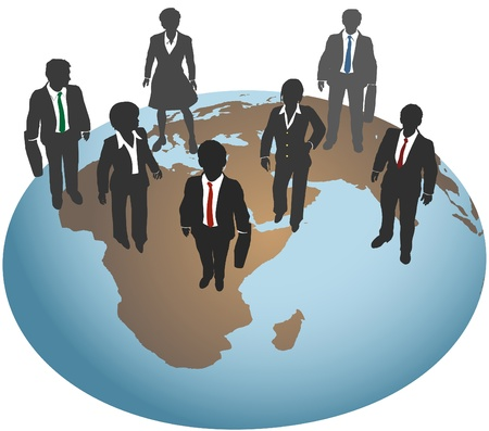 human geography: Global business team for international marketing and other work Illustration