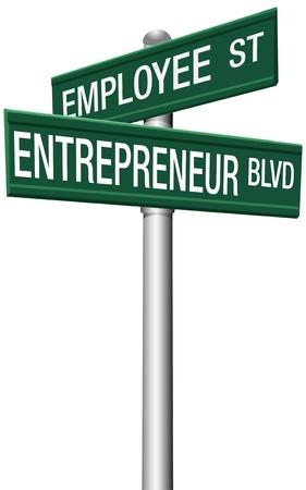 キャリア指示従業員ストリートと起業家の大通りの標識を変更します。 写真素材 - 16821634