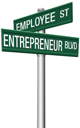 Change career directions employee street and entrepreneur boulevard signs