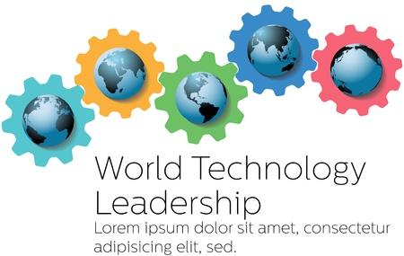 세계의 상징으로 글로벌 기술 리더십 기어 일러스트