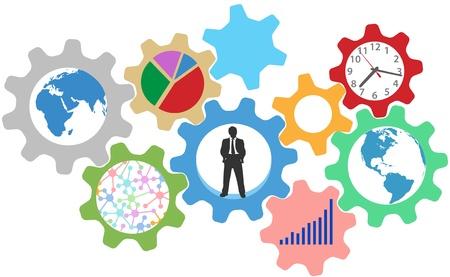 Wereld van een drukke zakenman aan het werk in de organisatie versnellingen