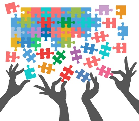 many hands: Female hands work together to connect jigsaw puzzle pieces