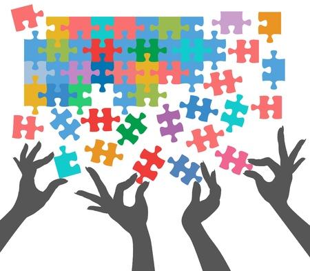 Vrouwelijke handen werken samen om puzzelstukken aansluiten