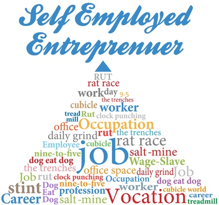 self employed: Word cloud pyramid rises from employee to of self employed entrepreneur Illustration
