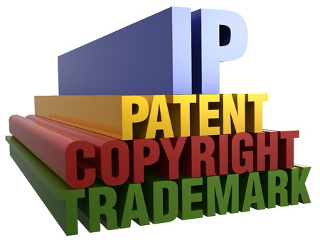 Intellectual Property Patent Copyright Trademark 3D word stack with clipping path Banco de Imagens